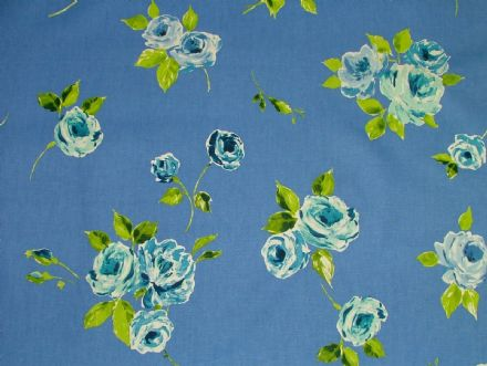 "Prestigious Textiles ""Ella"" Ink Blue Floral Cotton Curtain/Soft Furnishing Fabric"